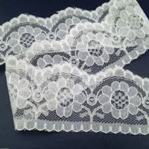 "5 METRES Quality flat White Lace Trimming  55 mm 2.1"" Trim Craft Scalloped Edge"